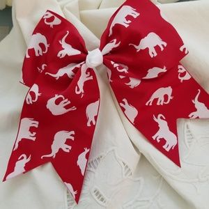Other - Elephant print hair bow. Red. White. 🔺️HP🔺️